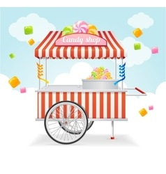 Candy cart market card vector
