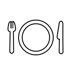Fork plate and knife line icon vector