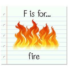 Flashcard letter f is for fire vector