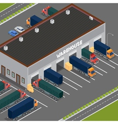 Isometric warehouse storehouse building cargo vector