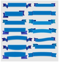 Cute blue ribbons and banners vector image
