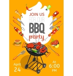 Bbq party announcement flat poster vector