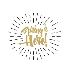 Easter spring sign - spring is here easter wishes vector