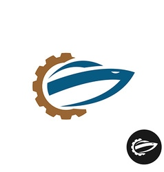 Yacht boat repair and service logo spare parts vector