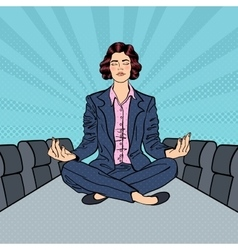 Business woman meditating on the table vector