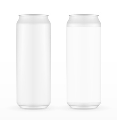 Two white metal aluminum beverage drink can 500ml vector
