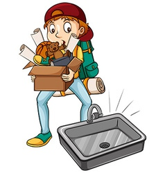 A boy carrying a box vector image vector image