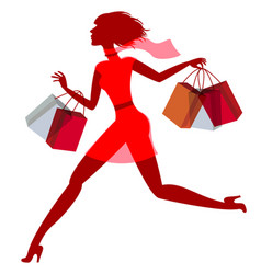 A girl hurries shopping on sale vector