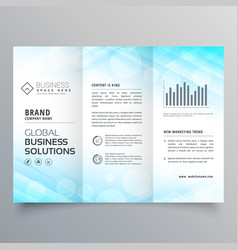 Abstract blue trifold business brochure layout vector