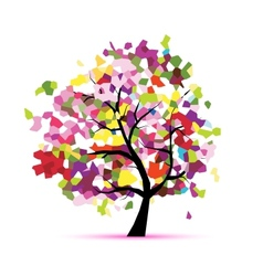 Abstract mosaic tree for your design vector image