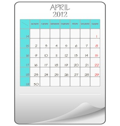 april 2012 vector image vector image