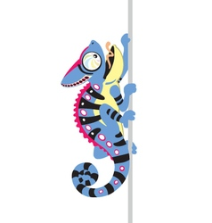 Blue cartoon chameleon vector