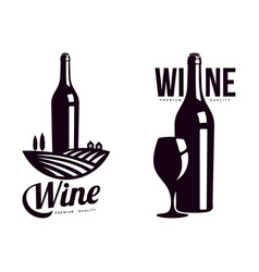 Bottle of wine background of vineyard field icon vector