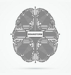brain brainstorming power thinking technology vector image