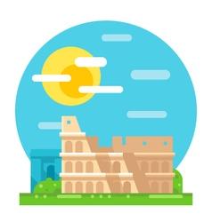 Colosseum ruin flat design landmark vector image vector image