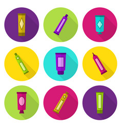 Cosmetic tubes flat icon set vector