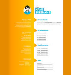 Creative curriculum vitae template with orange vector