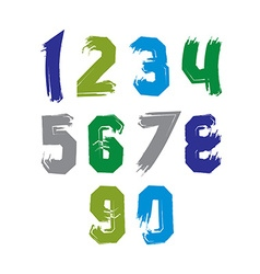 Creative handwritten colorful numbers set from 0 vector