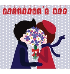 Cute valentines day vintage card vector
