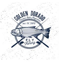 Golden dorado fishing logo vector
