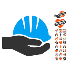 Hand with helmet icon with lovely bonus vector