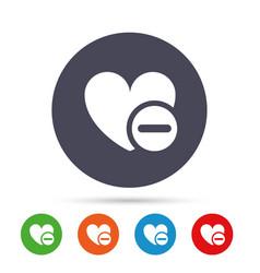 Heart sign icon remove lover symbol vector