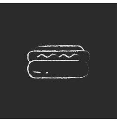 Hotdog icon drawn in chalk vector image