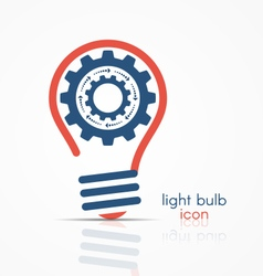 light bulb idea icon with rotating gears vector image