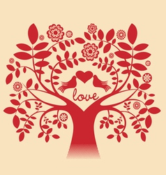 Love tree red color vector image vector image