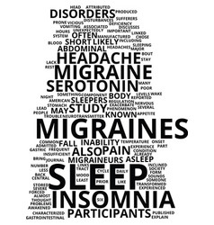 migraines and insomnia text background word cloud vector image
