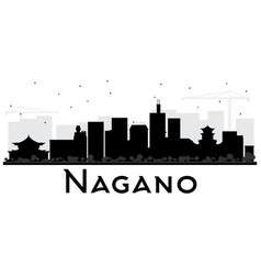 Nagano japan city skyline black and white vector