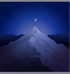 night in the mountains landscape with peak vector image