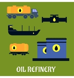 Oil storage and transportation icons vector