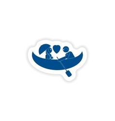 Paper sticker on white background love boat vector