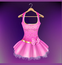 Pink dress on hanger vector