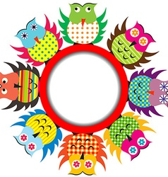 Round frame with cartoon owls vector image