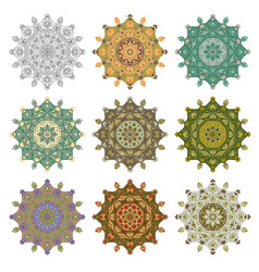 set mandala different color 44 vector image vector image