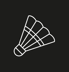 Shuttlecock icon on black background vector