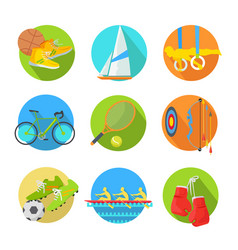 Sports flat icons collection vector