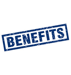Square grunge blue benefits stamp vector