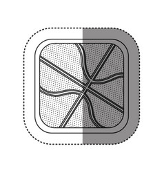 sticker of monochrome rounded square with vector image