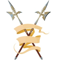 Two crossed halberds with banner vector