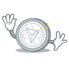 waving tron coin character cartoon vector image vector image