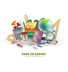 Back to school accessories composition poster vector