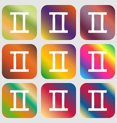 Gemini sign icon nine buttons with bright vector