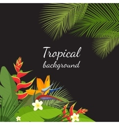 Colorful tropical flower plant and leaf pattern vector