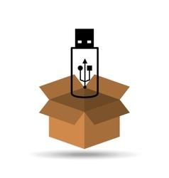 Silhouette usb flash drive design icon vector