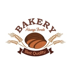 Bakery shop label emblem with rye sliced bread vector