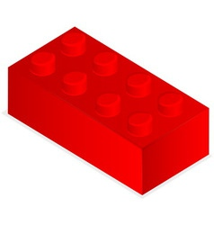 Lego red plastic building block vector