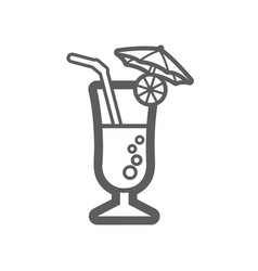 Cocktail outline icon summer vacation vector